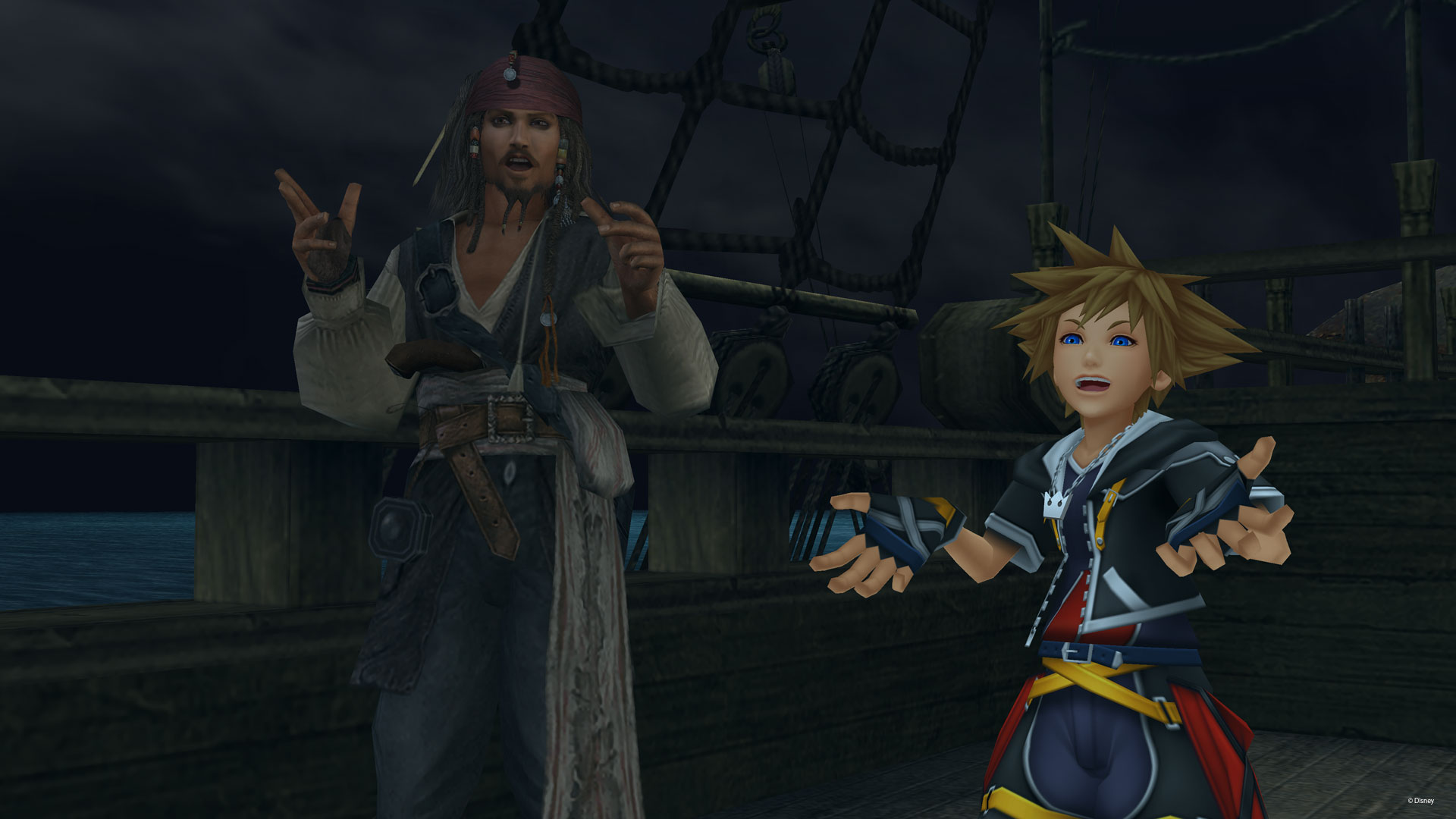 Sora con Jack Sparrow in Kingdom Hearts II